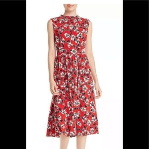 Leota Sleeveless Dress Medium Red Midi Floral